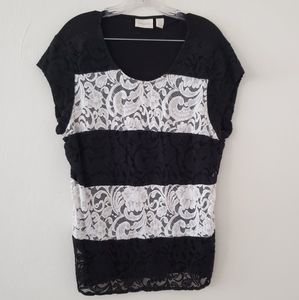 Chico's Contrast Lace Gina Tee Sz. L